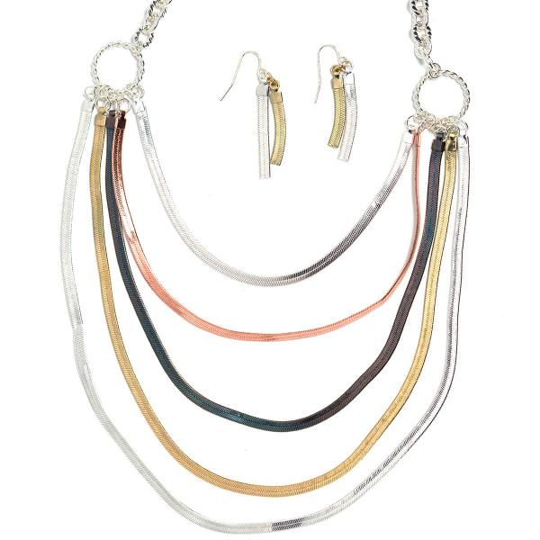 Fashion Necklace & Earring Sets 1043 - Tri-Color -