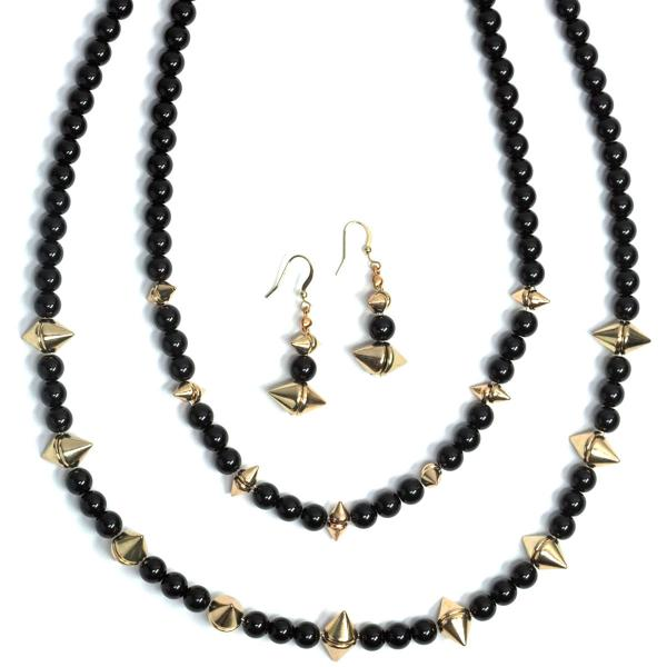 wholesale Fashion Necklace & Earring Sets 4173 - Black  -