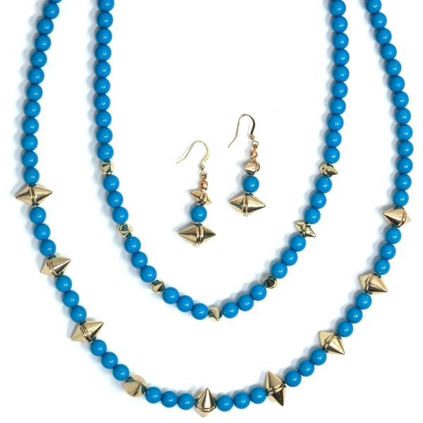 Fashion Necklace & Earring Sets 4173 - Blue  -