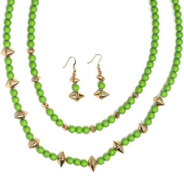 wholesale Fashion Necklace & Earring Sets 4173 - Green  -