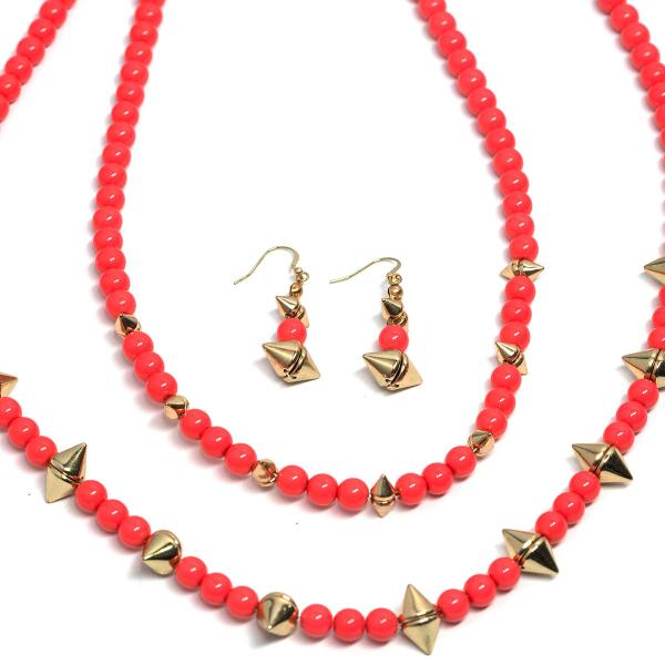 Fashion Necklace & Earring Sets 4173 - Pink  -