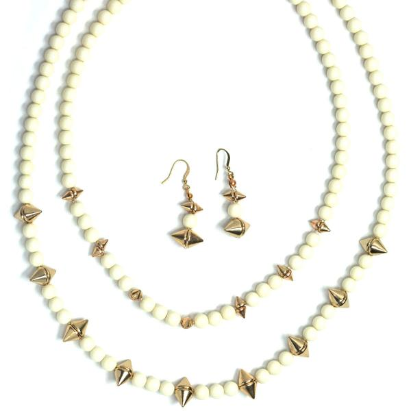 Fashion Necklace & Earring Sets 4173 - White  -