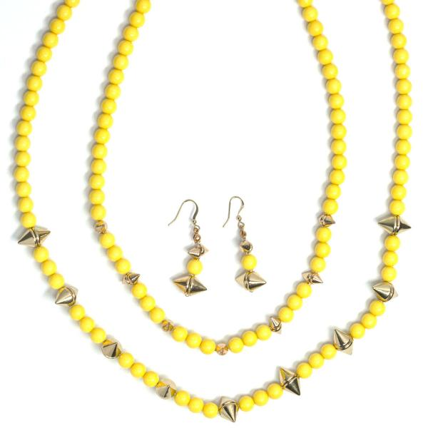 Fashion Necklace & Earring Sets 4173 - Yellow  -