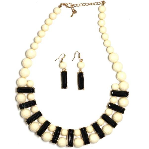 wholesale Fashion Necklace & Earring Sets 4417 - White  -