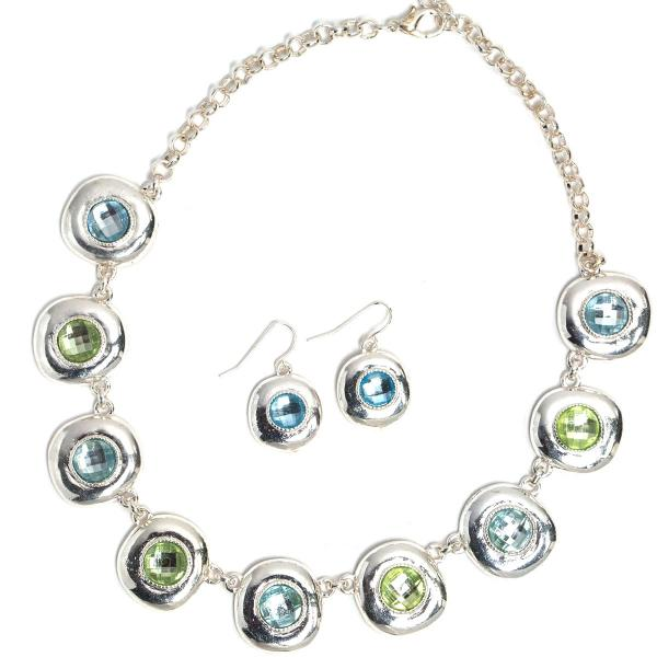 Fashion Necklace & Earring Sets 1051 - Silver-Blue -