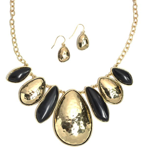 wholesale Fashion Necklace & Earring Sets 1065 - Black-Gold -