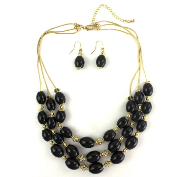 wholesale Fashion Necklace & Earring Sets 1173 - Gold-Black -