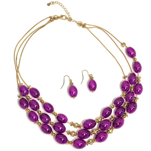 Fashion Necklace & Earring Sets 1173 - Gold-Purple -
