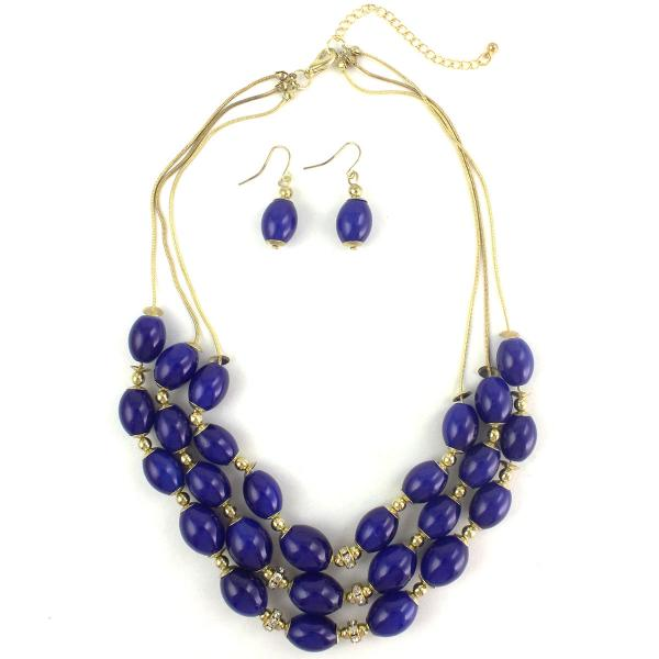 Fashion Necklace & Earring Sets 1173 - Gold-Royal -