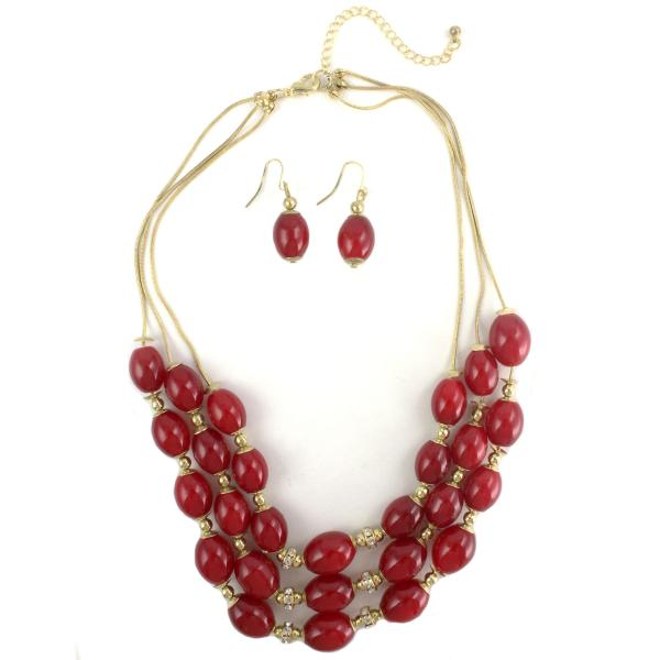 Fashion Necklace & Earring Sets 1173 - Gold-Red -