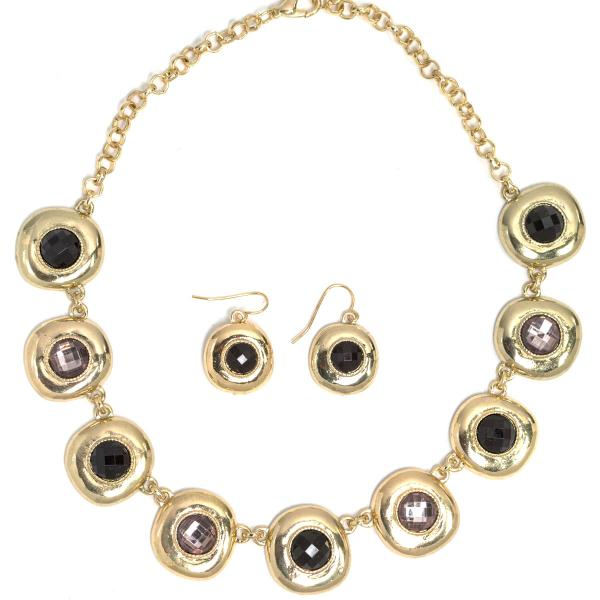 wholesale Fashion Necklace & Earring Sets 1051 - Gold-Black -