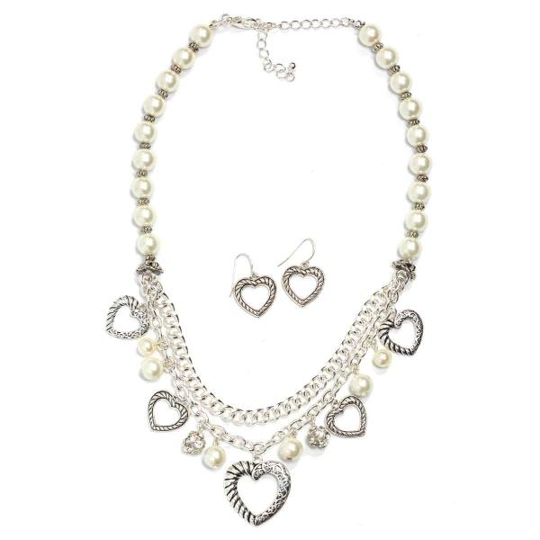 Fashion Necklace & Earring Sets 1136 - Silver -