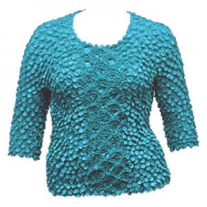 wholesale Queen - Coin Fishscale - Three Quarter Sleeve Turquoise - Queen Size Fits (XL-3X)