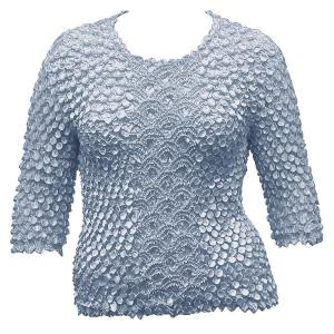 wholesale Queen - Coin Fishscale - Three Quarter Sleeve Pale Baby Blue - Queen Size Fits (XL-3X)