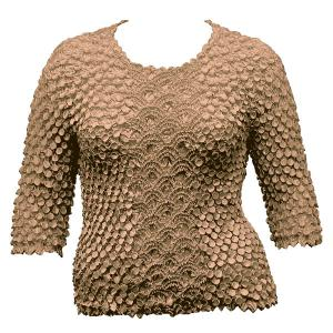 wholesale Queen - Coin Fishscale - Three Quarter Sleeve Taupe - Queen Size Fits (XL-3X)