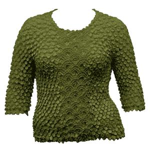 wholesale Queen - Coin Fishscale - Three Quarter Sleeve Olive - Queen Size Fits (XL-3X)