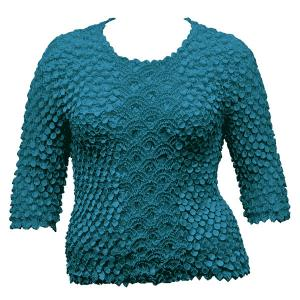 wholesale Queen - Coin Fishscale - Three Quarter Sleeve Teal Blue - Queen Size Fits (XL-3X)