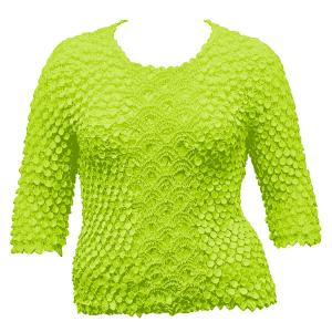 wholesale Queen - Coin Fishscale - Three Quarter Sleeve Neon Green - Queen Size Fits (XL-3X)