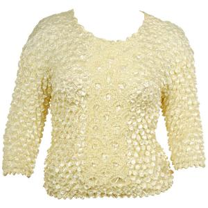 wholesale Queen - Coin Fishscale - Three Quarter Sleeve Lemon Chiffon - Queen Size Fits (XL-3X)
