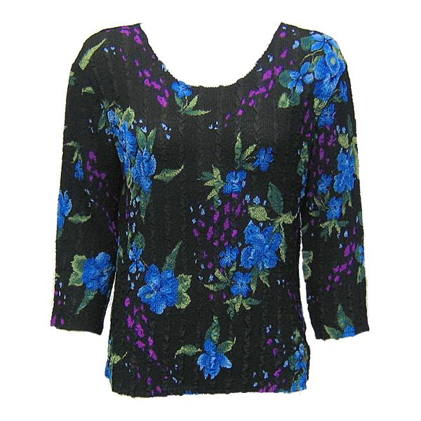 Wholesale Magic Crush Georgette - Three Quarter Sleeve* Black-Blue Floral - One Size  Fits (S-M)