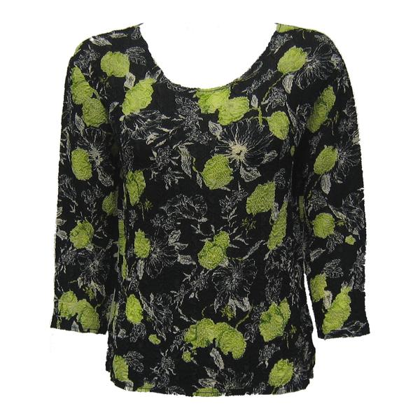 Wholesale Magic Crush Georgette - Three Quarter Sleeve* Black-Kiwi Floral - One Size  Fits (S-M)