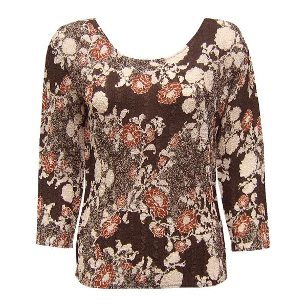 Wholesale Magic Crush Georgette - Three Quarter Sleeve* Chocolate-Ivory Floral - One Size  Fits (S-M)