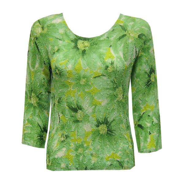 Wholesale Magic Crush Georgette - Three Quarter Sleeve* Daisies - Green - One Size  Fits (S-M)