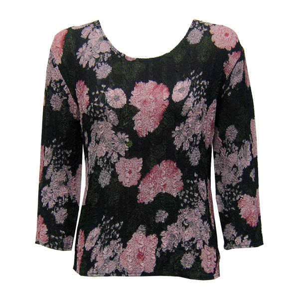 Wholesale Magic Crush Georgette - Three Quarter Sleeve* Floral Stencil Pink - One Size  Fits (S-M)