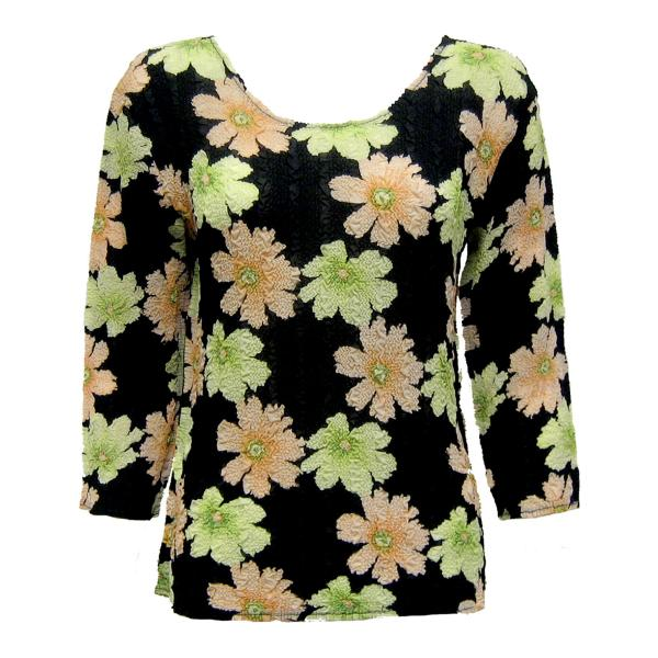 Wholesale Magic Crush Georgette - Three Quarter Sleeve* Hibiscus Peach-Green - One Size  Fits (S-M)