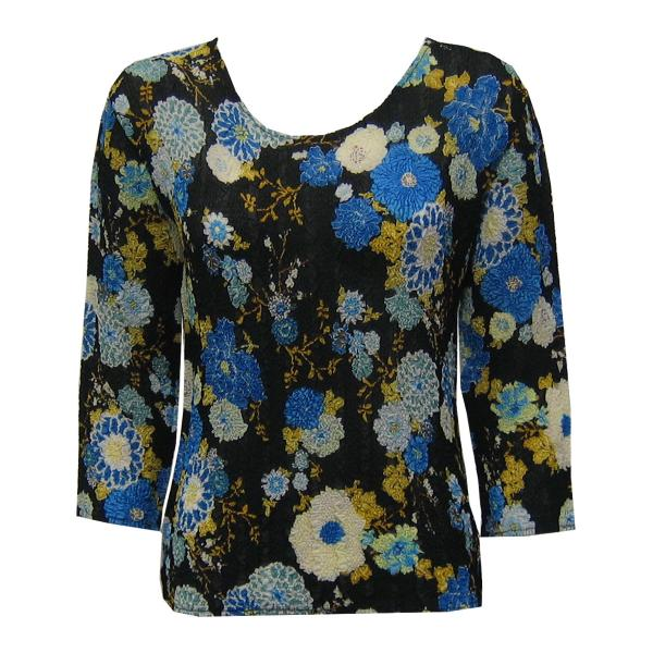 Wholesale Magic Crush Georgette - Three Quarter Sleeve* Mums Blue-Black - One Size  Fits (S-M)
