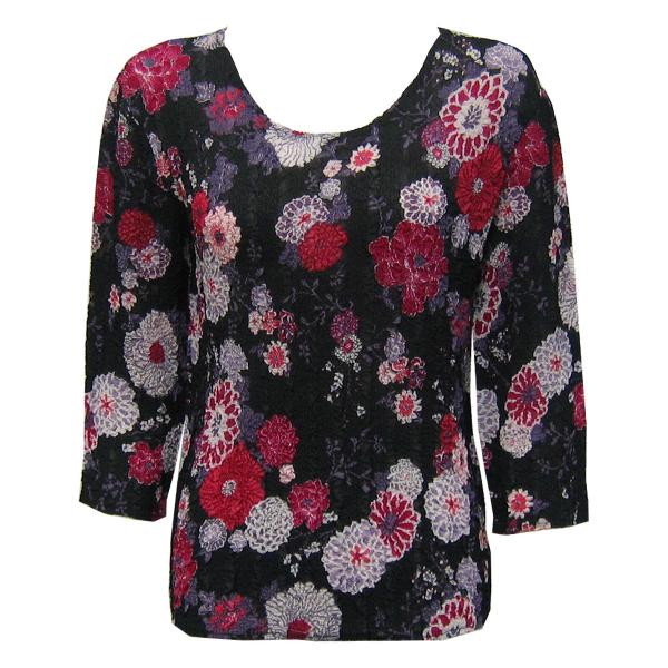 Wholesale Magic Crush Georgette - Three Quarter Sleeve* Mums Pink-Black - One Size  Fits (S-M)