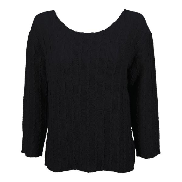 Wholesale Magic Crush Georgette - Three Quarter Sleeve* Solid Black - One Size  Fits (S-M)
