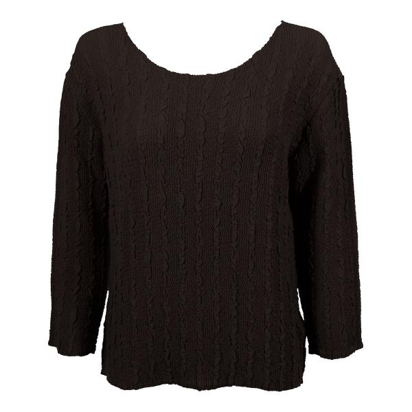 Wholesale Magic Crush Georgette - Three Quarter Sleeve* Solid Dark Brown - One Size  Fits (S-M)