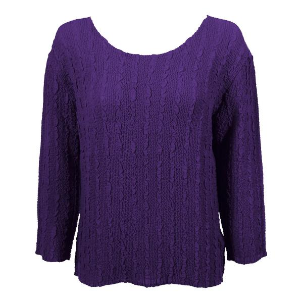 Wholesale Magic Crush Georgette - Three Quarter Sleeve* Solid Purple - One Size  Fits (S-M)