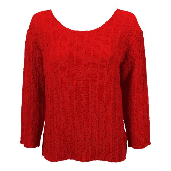Wholesale Magic Crush Georgette - Three Quarter Sleeve* Solid Red - One Size  Fits (S-M)
