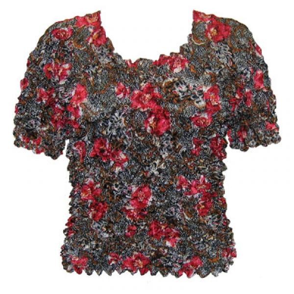 Wholesale Silky Touch Popcorn - Queen Short Sleeve Floral Lace Black-Red - Queen Size Fits (XL-3X)