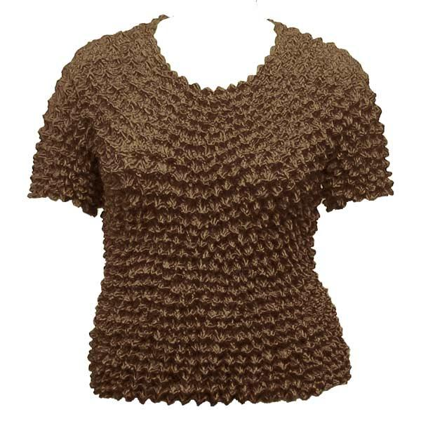 Wholesale Silky Touch Popcorn - Queen Short Sleeve Chocolate Brown - Queen Size Fits (XL-3X)