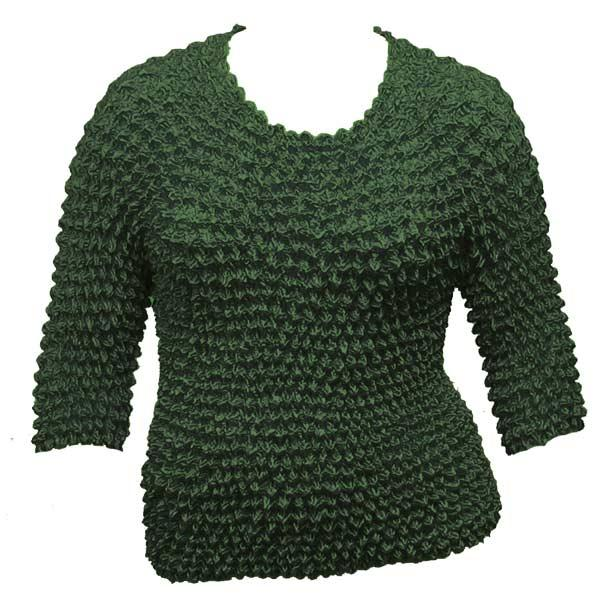 Wholesale Silky Touch Popcorn - Queen Three Quarter Sleeve  Hunter Green - Queen Size Fits (XL-3X)