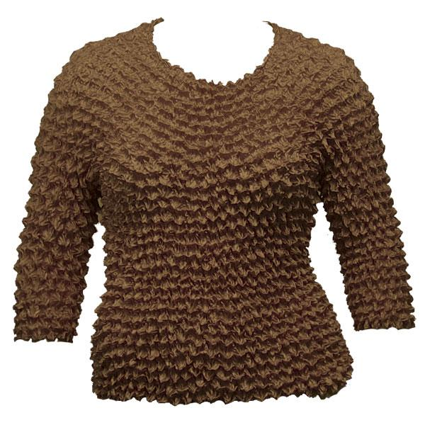 Wholesale Silky Touch Popcorn - Queen Three Quarter Sleeve  Chocolate Brown - Queen Size Fits (XL-3X)