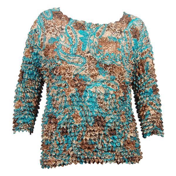 Wholesale Silky Touch Popcorn - Queen Three Quarter Sleeve  Paisley Teal - Queen Size Fits (XL-3X)