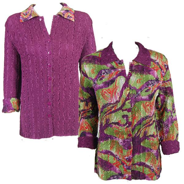 Wholesale Magic Crush - Reversible Jackets Eggplant-Olive Print reverses to Solid Eggplant (MISSING) - L-XL