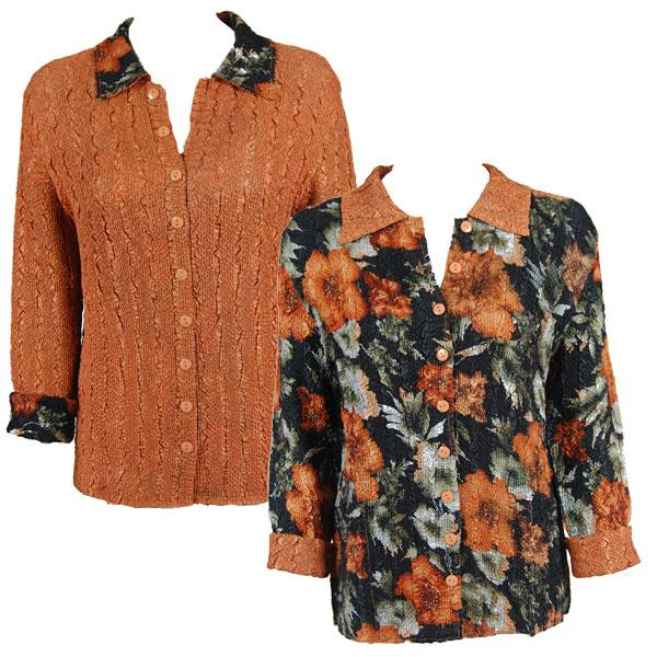 Wholesale Magic Crush - Reversible Jackets Hibiscus Black-Copper reverses to Solid Copper #P01 - 1X-2X