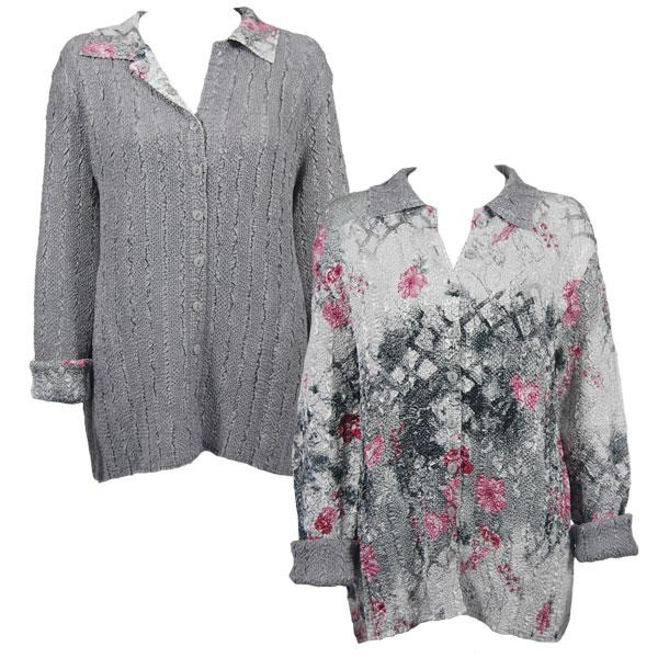Wholesale Magic Crush - Reversible Jackets White-Black-Pink Floral reverses to Solid Silver #9301 - L-XL