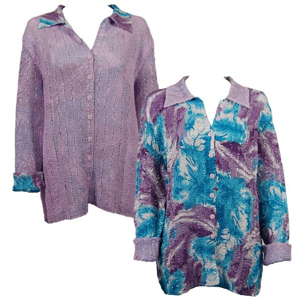 Wholesale Magic Crush - Reversible Jackets Turquoise-Purple Watercolors reverses to Solid Lilac - 1X-2X