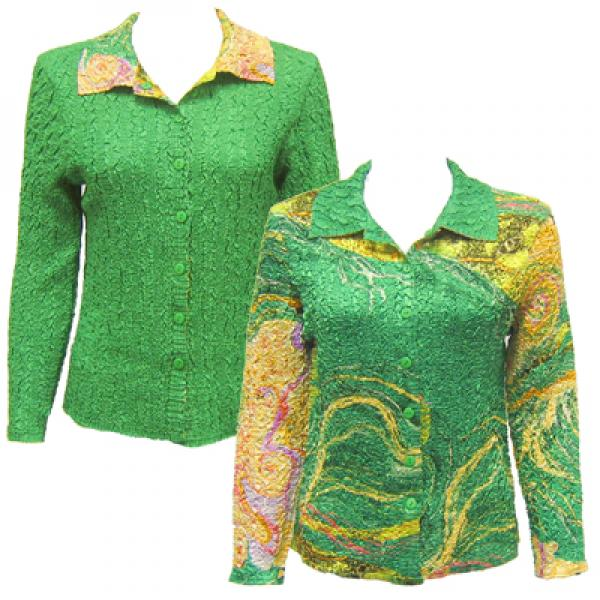 Wholesale Magic Crush - Reversible Jackets Swirl Green-Gold reverses to Solid Green - S-M