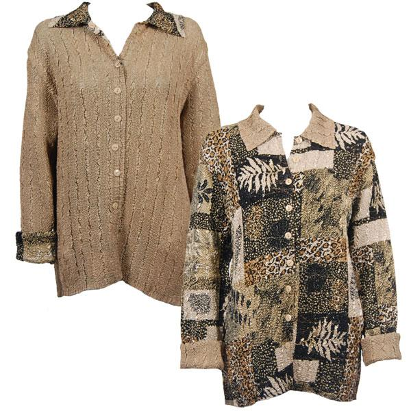 Wholesale Magic Crush - Reversible Jackets Patchwork Jungle reverses to Solid Tan #1049 - 1X-2X