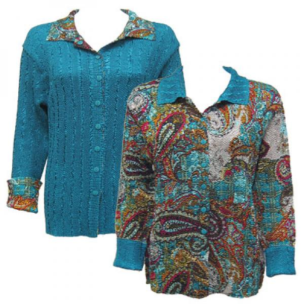 Wholesale Magic Crush - Reversible Jackets Paisley Plaid Teal reverses to Solid Teal - XL-1X