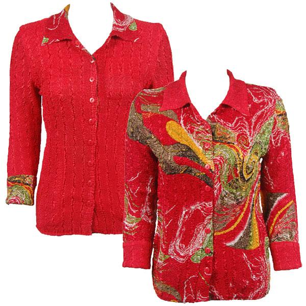 Wholesale Magic Crush - Reversible Jackets Swirl Olive-Red reverses to Solid Red - 1X-2X