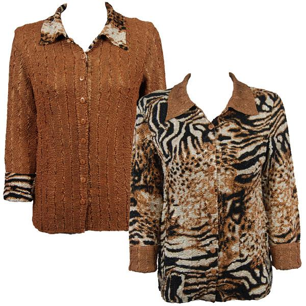 Wholesale Magic Crush - Reversible Jackets Bronze Leopard reverses to Solid Bronze - 1X-2X