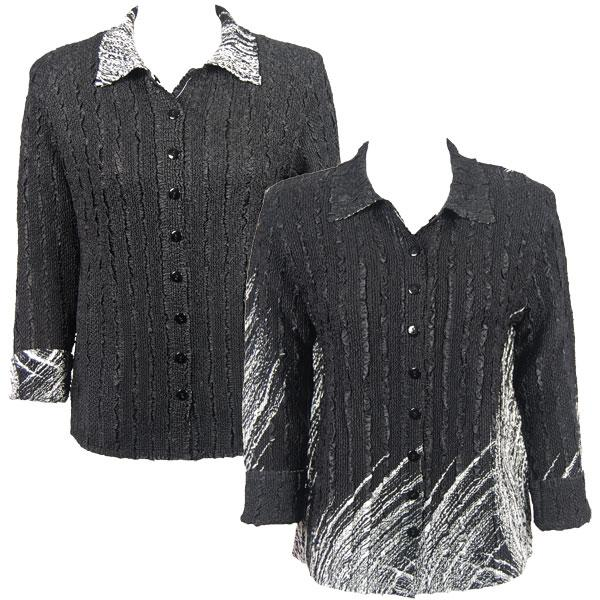 Wholesale Magic Crush - Reversible Jackets Lines - White on Black reverses to Solid Black - 1X-2X